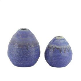 """S/2 Ceramic Drip Glaze Egg Vases, 6/4.75"""", Blue"""