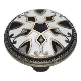 Canterbury Knob 1 1/2 Inch - Black & White