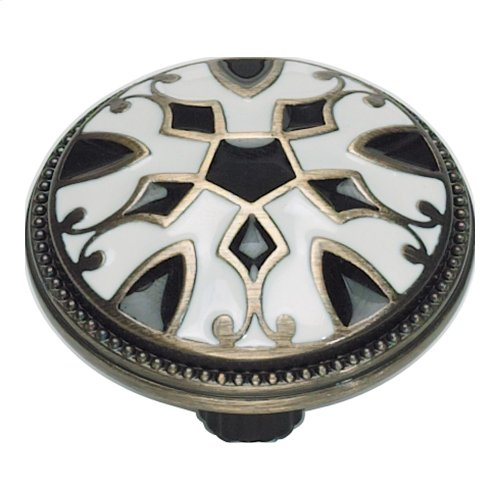 Canterbury Knob 1 1/2 Inch - Black & White