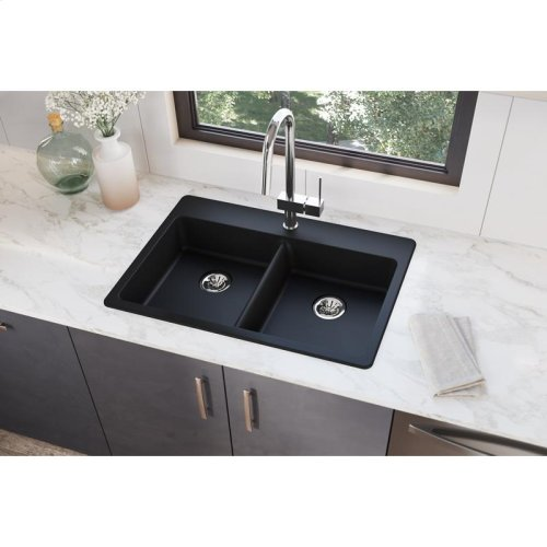 """Elkay Quartz Classic 33"""" x 22"""" x 5-1/2"""", Drop-in ADA Sink with Perfect Drain, Black"""
