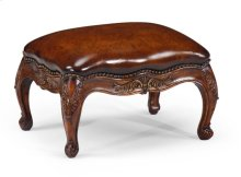 Small French Provincial Walnut Footstool Leather