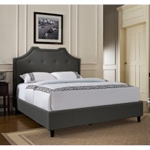 Crown Button Tuft Headboard - King - Charcoal