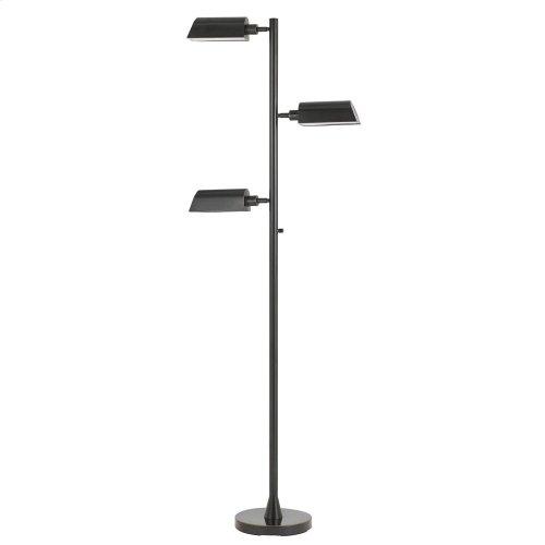 7W X 3, 450 Lumen/Light, 3000K, LED Swivel Floor Lamp With Metal Shade