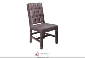Gray Faux leather Chair with tufted back