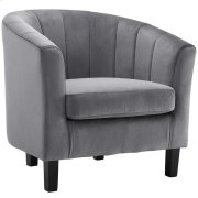 Prospect Channel Tufted Upholstered Velvet Armchair in Gray Product Image
