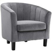 Prospect Channel Tufted Upholstered Velvet Armchair in Gray Product Image