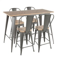 Oregon High Back Counter Set - Grey Metal, Bamboo