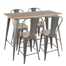 Oregon High Back Counter Set - Grey Metal, Bamboo