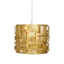 Brutalist Gold Leaf Pendant With 3 Light Candle Cluster