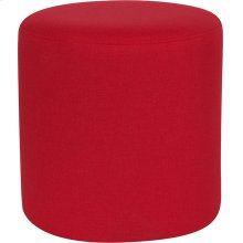 Barrington Upholstered Round Ottoman Pouf in Red Fabric
