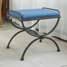 Microsuede Upholstered Iron Iron and Microsuede Vanity Stool - Indigo