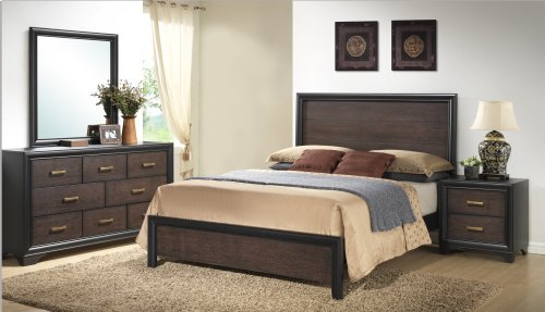 Emerald Home Prelude Queen Panel Bed Kit Honey Black/brown B588-10-k