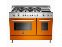 48 6-Burner + Griddle, Electric Self-Clean Double Oven Orange