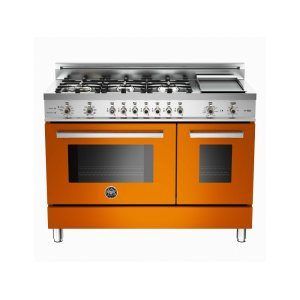 48 6-Burner + Griddle, Electric Self-Clean Double Oven Orange - Orange