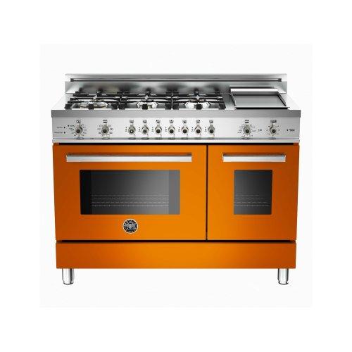 48 6-Burner + Griddle, Electric Self-Clean Double Oven Orange