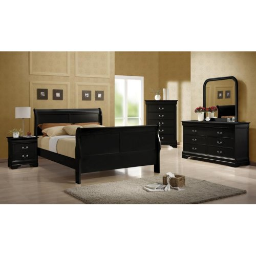 Louis Philippe Traditional Black Full Five-piece Set