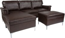 Boylston Upholstered Plush Pillow Back Sectional with Left Side Facing Chaise and Ottoman Set in Brown Leather