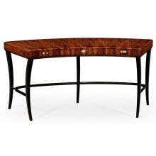 Art Deco High Lustre Curved Desk with Drawers