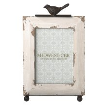 Distressed Ivory 5x7 Frame with Bird Stand set/2.