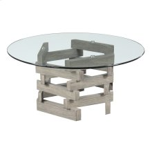 """Complete Cocktail Table-round 40"""" Glass Top W/pine Wood Pedestal Base-driftwood Finish"""