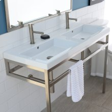 Optional solid surface shelf for metal console stand with a towel bar AQQ-BX-48