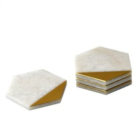 Gold/white Marble Coasters