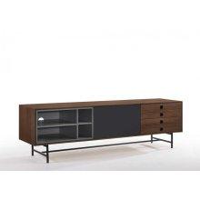 Modrest Bronson Mid-Century Modern Walnut & Grey TV Stand