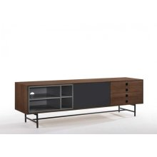 Modrest Bronson Mid-Century Modern Walnut & Grey TV Stand