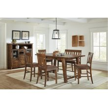 Cannon Valley Counter Trestle With 4 Stools and Bench
