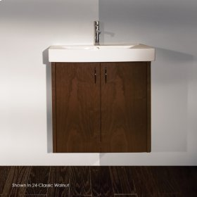 "Wall-mount under-counter vanity with two doors and one pull-out shelf, polished chrome pulls, 28 5/8""W, 16 1/2""D, 24""H."