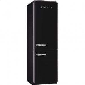 50'S Retro Style refrigerator with automatic freezer, Black, Right hand hinge