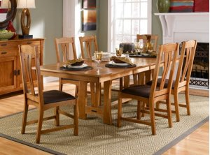 "Rectangle Trestle Table W /2-18"" Lvs"