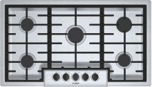 "500 Series, 36"" Gas Cooktop, 5 Burners, Stainless Steel"