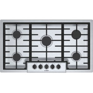 "Bosch500 Series, 36"" Gas Cooktop, 5 Burners, Stainless Steel"