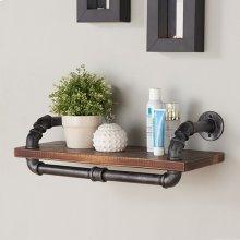 "Armen Living 24"" Isadore Industrial Walnut Wood Floating Wall Shelf in Silver Finish"