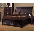 Sandy Beach Cappuccino Queen Sleigh Bed With Footboard Storage Product Image