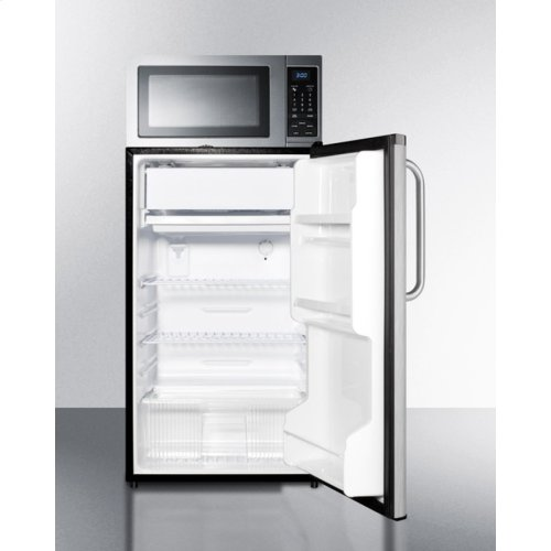 Compact Refrigerator Freezer Microwave Combination With Auto Defrost Stainless Steel