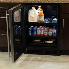 "24"" Beverage Center with Convertible Shelves - Panel Overlay Frame Ready Glass Door - Integrated Left Hinge"
