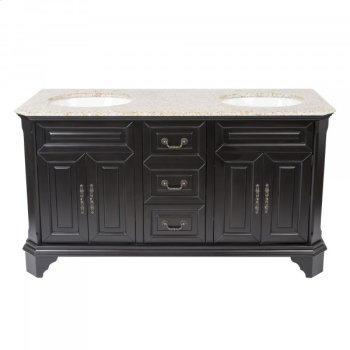 Double 60 in. W Mahogany Birch with MDF Vanity Product Image