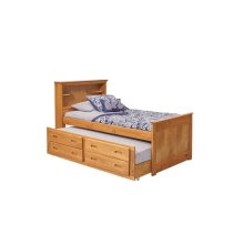 Heartland Full Bookcase Captain's Bed with Trundle & Storage with options: Honey Pine, Full