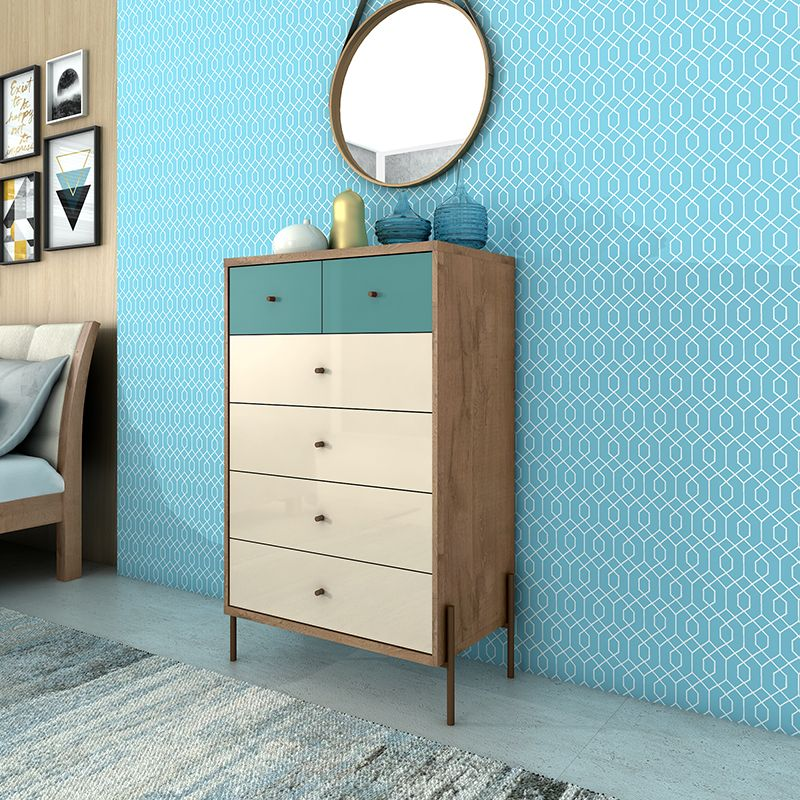 """Joy 48.43"""" Tall Dresser with 6 Full Extension Drawers in Blue and Off White"""