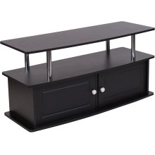Evanston Black TV Stand with Shelves, Cabinet and Stainless Steel Tubing