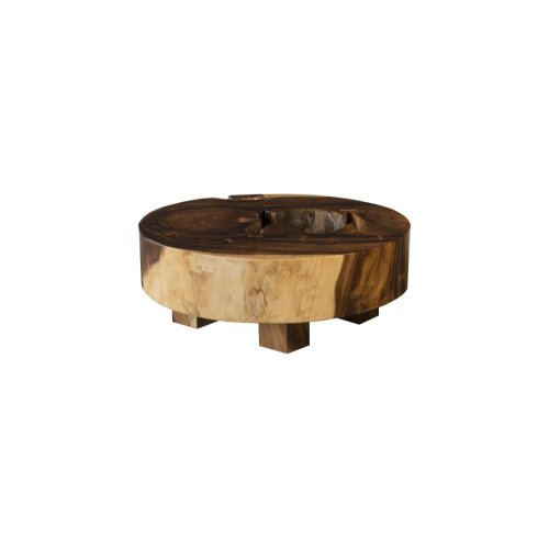 Chamcha Wood Thick Coffee Table on Block Legs, Round