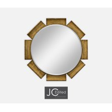 Round Porthole Light Brown Chestnut Mirror