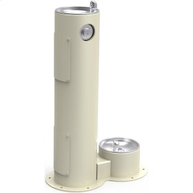 Elkay Outdoor Fountain Pedestal with Pet Station, Non-Filtered Non-Refrigerated, Freeze Resistant, Beige