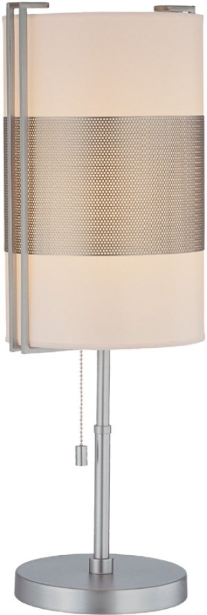 Table Lamp, Ss/white Paper Shade, E27 Cfl 13w