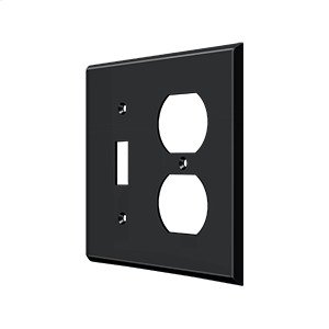 Switch Plate, Single Switch/Double Outlet - Paint Black