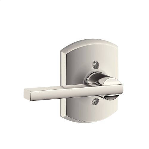 Latitude Lever with Greenwich trim Non-turning Lock - Polished Nickel