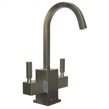 Forever Hot ® instant hot and cold water dispenser with a gooseneck spout and a self-closing hot water handle.
