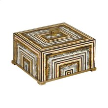 MULTI COLORED SHELL INLAID WOODEN BOX